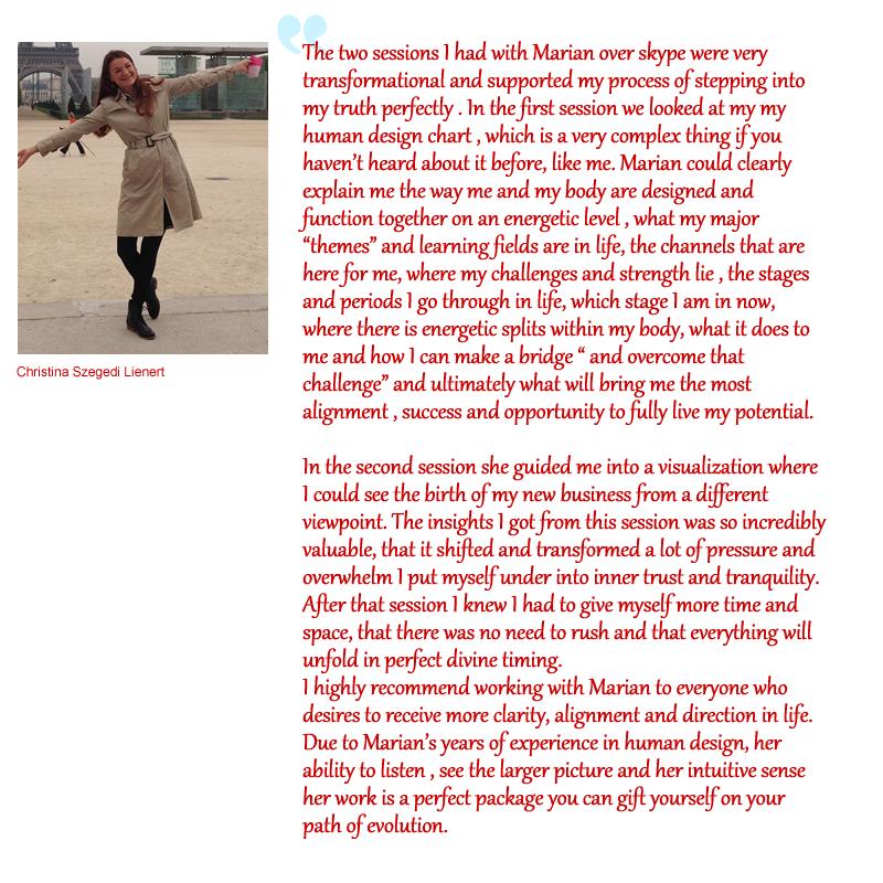 testimonial for Marian Mills by Christina Szegedi Lienert