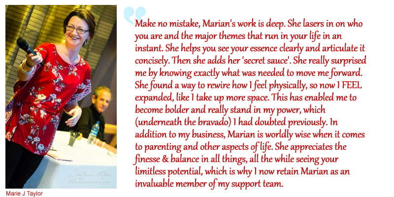testimonial for Marian Mills by Marie J Taylor