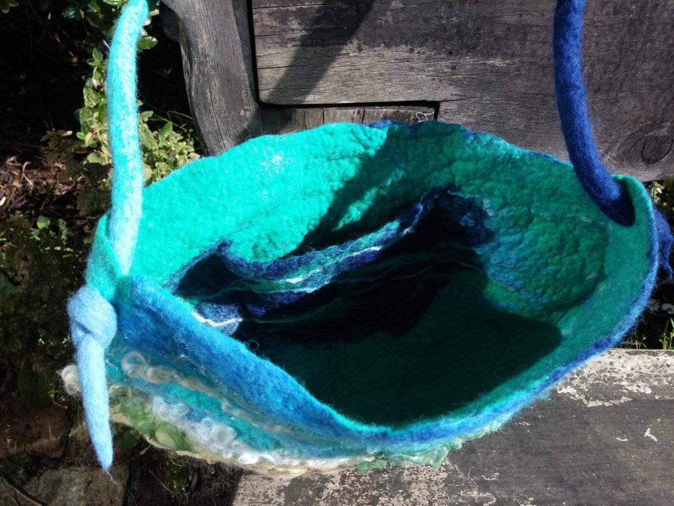 inner pocket wet felted sea shore felt bag