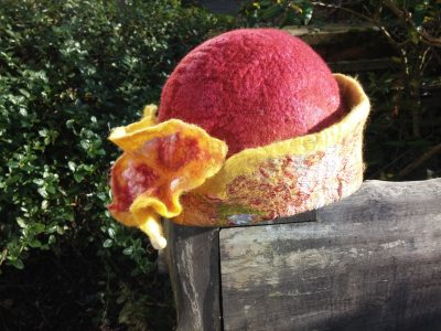 felt handmade hat nuno silk wool burgundy yellow blythwhimsies 11-2015