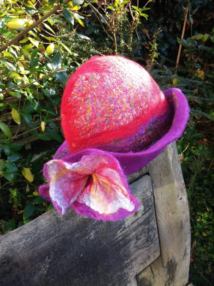 felt handmade hat nuno silk wool red purple blythwhimsies 11-2015