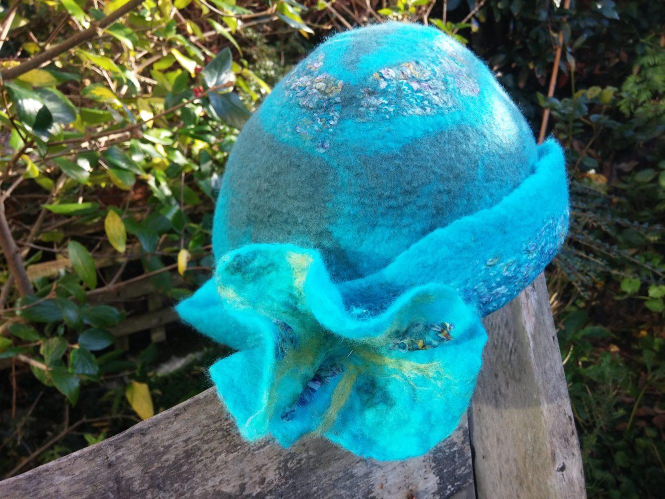 felt handmade hat nuno silk wool turquoise teal blythwhimsies