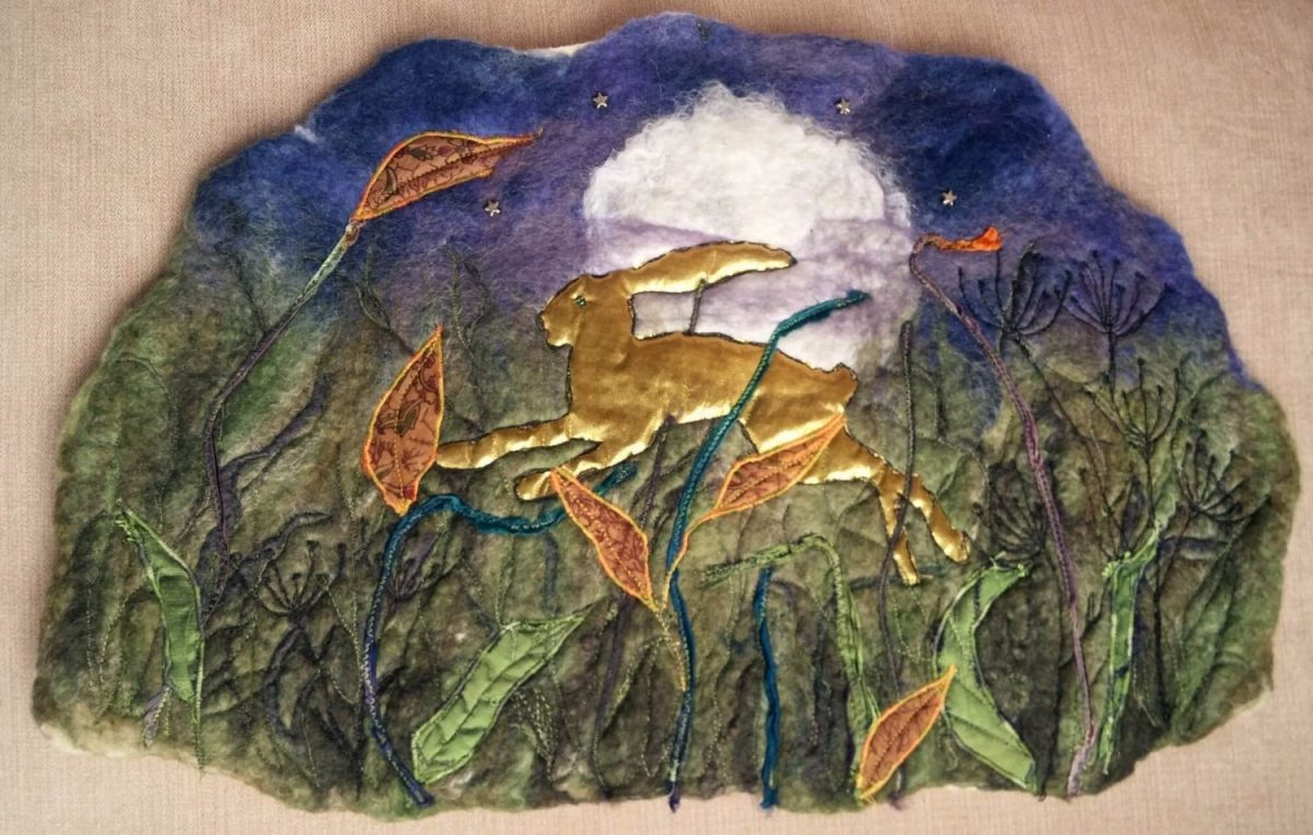 golden hare felt leaping full moon blythwhimsies 2016