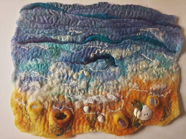 seascape wet felt shell wall hanging marian may blyth whimsies